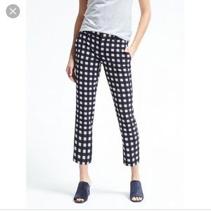 Navy and white gingham cropped pants